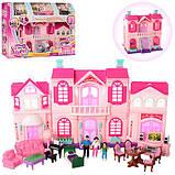 Кукольный домик для кукол игрушечный с мебелью раскладной с фигурками и светом, фото 6