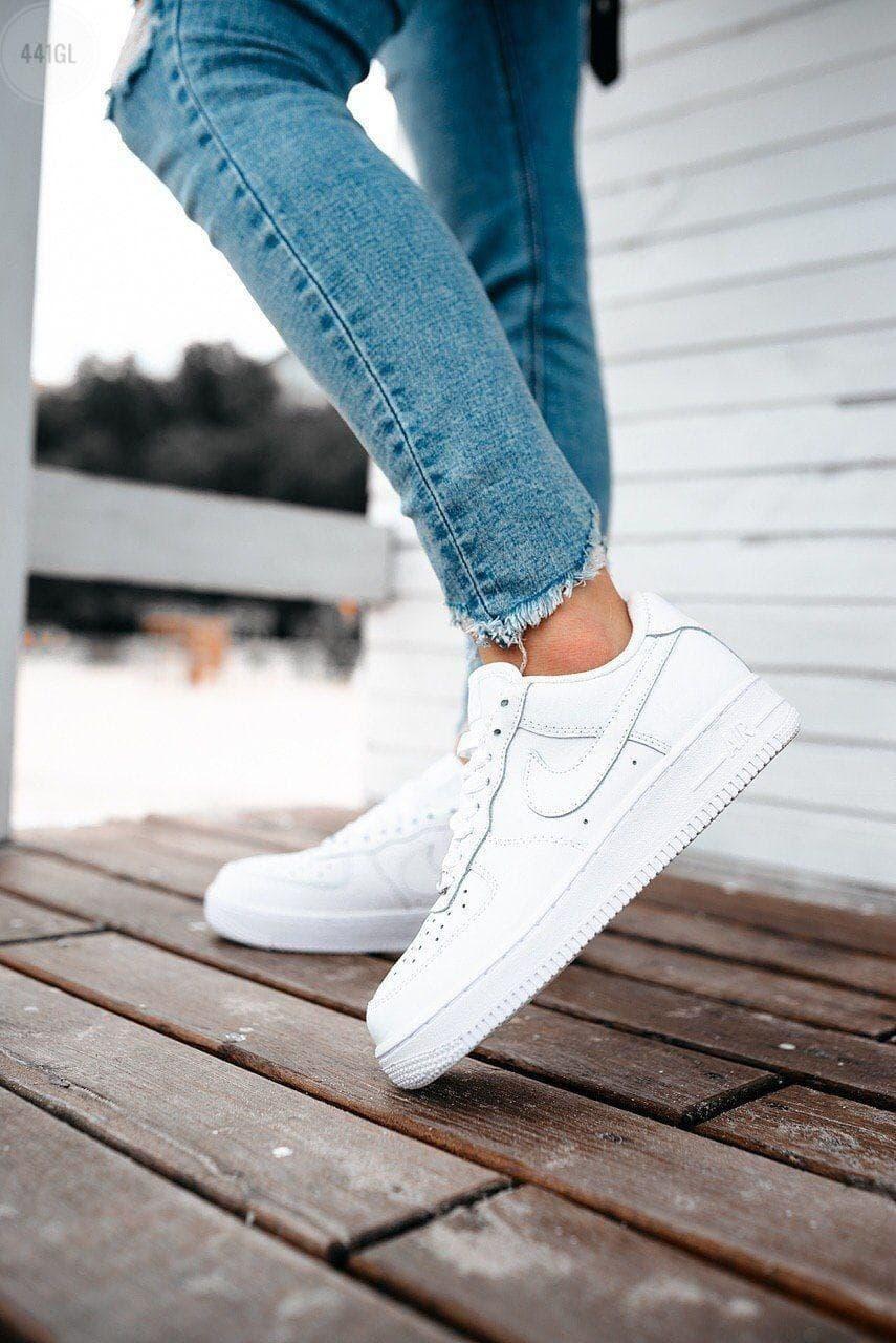 Женские кроссовки Nike Air Force Low (белые) 441GL крутая качественная обувь