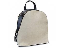Рюкзак жіночий двоколірний. Стильний жіночий рюкзак з натуральної шкіри чорно-білий.