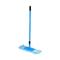 /Швабра для уборки телескопическая микрофибра 1000 пальцев 44 см синяя