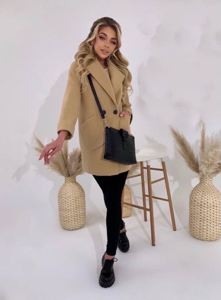 Стильное женское кашемировое пальто, два кармана