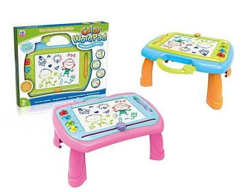 Игровой столик со встроенными отсеками для геометрических магнитов и магнитной ручкой Доска для рисования