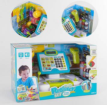 Детский кассовый аппарат с корзинкой для продуктов Игра кассовый апарат с сканером микрофоном и калькулятором