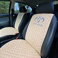 Накидки-чехлы на сиденья авто с вышивкой логотипа Тойота (Toyota). Передний комплект (из алькантары)