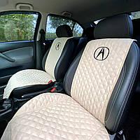 Накидки-чехлы на сиденья авто с вышивкой логотипа Акура (Acura). Передний комплект (из алькантары)