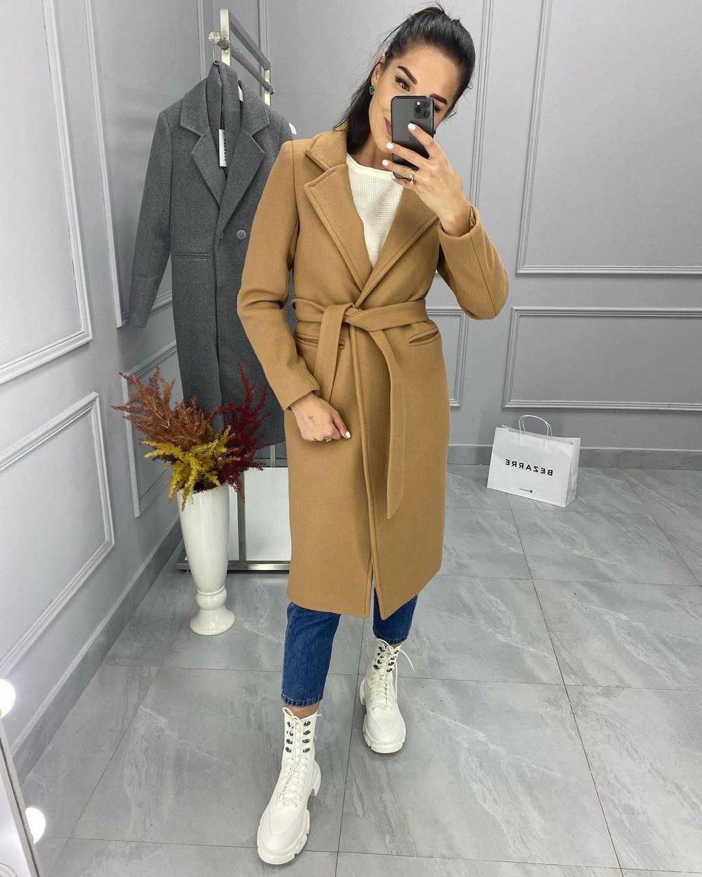 Класичне подовжене жіноче пальто з кашеміру, з поясом, 01675 (Кемел), Розмір 42 (S)