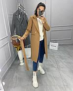Класичне подовжене жіноче пальто з кашеміру, з поясом, 01675 (Кемел), Розмір 42 (S), фото 2