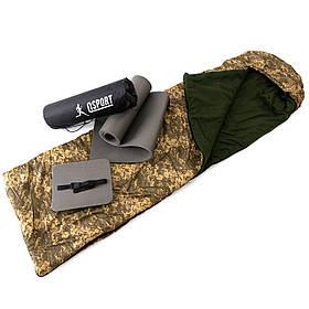 Коврик туристический + спальник + сидушка (каремат в палатку под спальный мешок) OSPORT Lite Зима (n-0016)