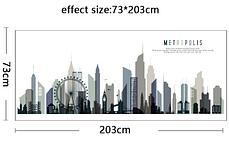 """Наклейка на стіну, двері, вітрини """"місто, будинки METROPOLIS"""" 203см*73см (2листа 60*90см), фото 2"""