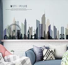 """Наклейка на стіну, двері, вітрини """"місто, будинки METROPOLIS"""" 203см*73см (2листа 60*90см), фото 3"""