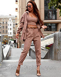 Костюм-тройка брючный женский вельветовый: рубашка, брюки и топ (в расцветках)