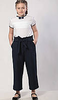 Школьные подростковые брюки для девочки однотонные прямые размер 8-14 лет, темно-синего цвета