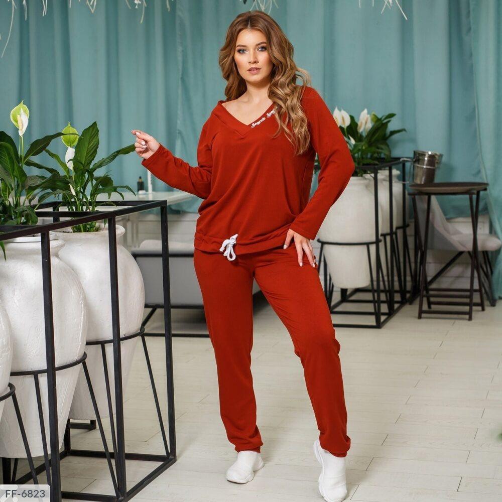 Спортивний повсякденний костюм жіночий зручний кофта з штанами двунить р: 50, 52, 54, 56, 58, 60 арт. 859