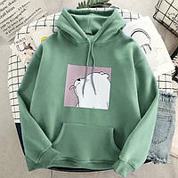 Женское худи с мишкой зеленое-мятное oversize (оверсайз) зеленая кофта-толстовка на флисе