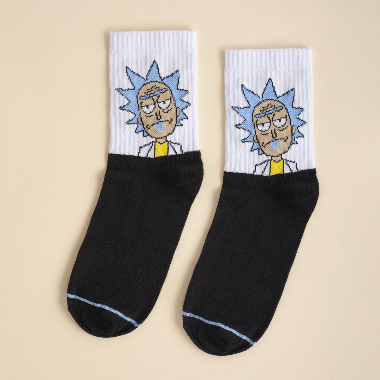Шкарпетки білі з принтом Рік и Морті