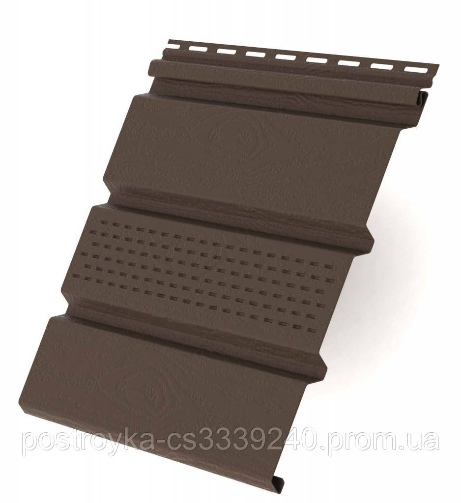 Панель софіт перфорований пластиковий Rainway/Ренвей 0,9 м2 (3м*0.3 м) Коричневий