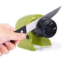 Точилка універсальна для ножів, ножиць Sharpener for knives and scissors electric Зелена