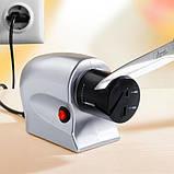 Электрическая точилка для ножей и ножниц универсальная  от сети 220В Серая, фото 3