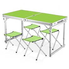 Стіл для пікніка алюмінієвий розкладний 4 стільця Зелений