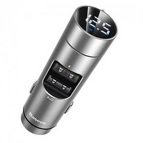 Трансмиттер FM модулятор Baseus Energy Column (bluetooth 5.0+5V/3.1A, 2 USB, MP3, QC) Silver