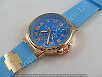 Женские часы Ulysse Nardin K20132 золотистые на голубом силиконовом ремешке календарь стандартная застежка