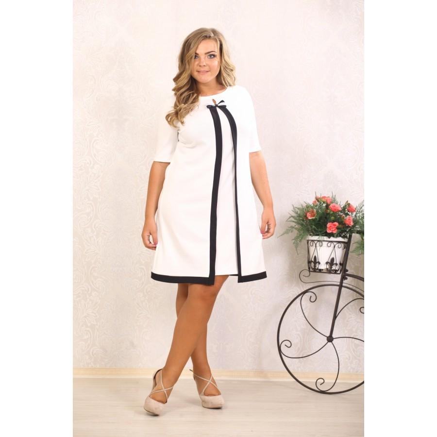 Женское платье с абстракцией Марша цвет молоко размер 48-72 / большого размера