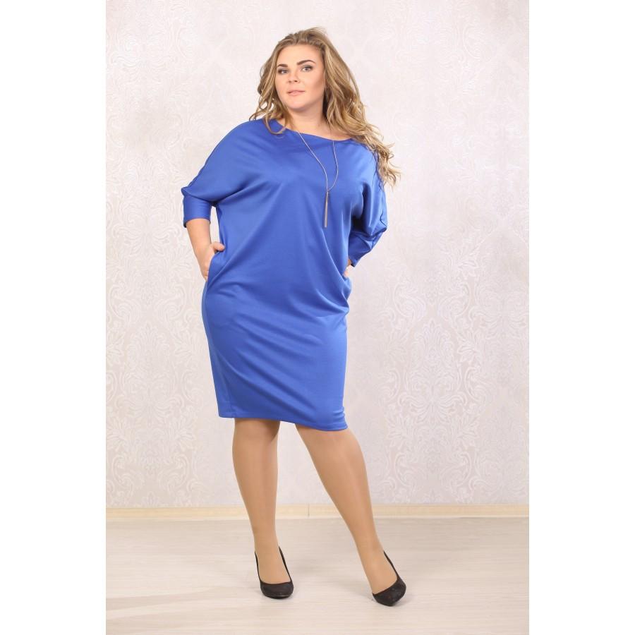 Женское платье рукав летучая мышь Синтия цвет електрик размер 48-72 / большого размера