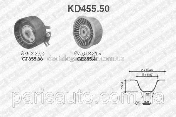 Комплект ремня ГРМ NTN-SNR KD455.50. Renaut Trafic II Renault Master 2,5dCi G9U  7701472329