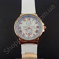 Женские часы Ulysse Nardin K20132 золотистые на белом силиконовом ремешке календарь стандартная застежка