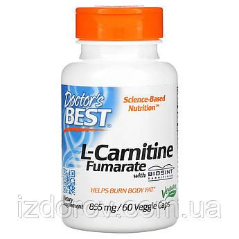 Doctor's s Best, L-карнітин фумарат з карнитинами Biosint, 855 мг, 60 капсул вегетаріанських