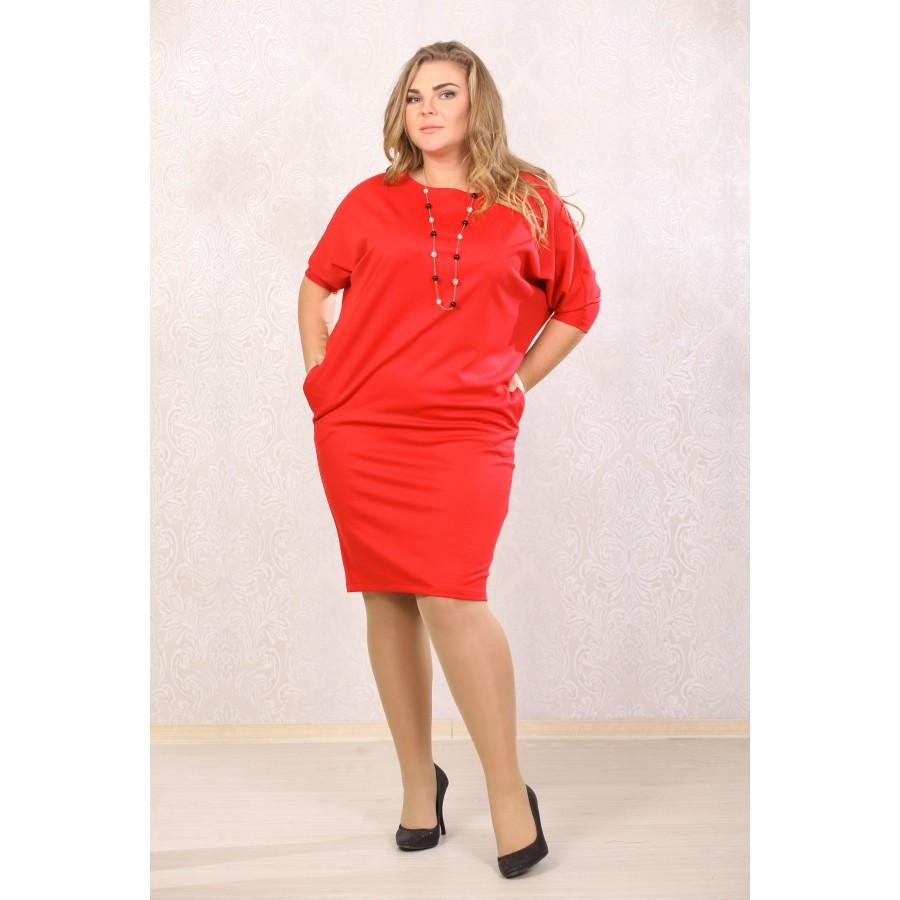 Женское платье рукав летучая мышь Синтия цвет красный размер 48-72 / большого размера