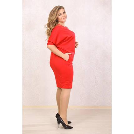 Женское платье рукав летучая мышь Синтия цвет красный размер 48-72 / большого размера, фото 2