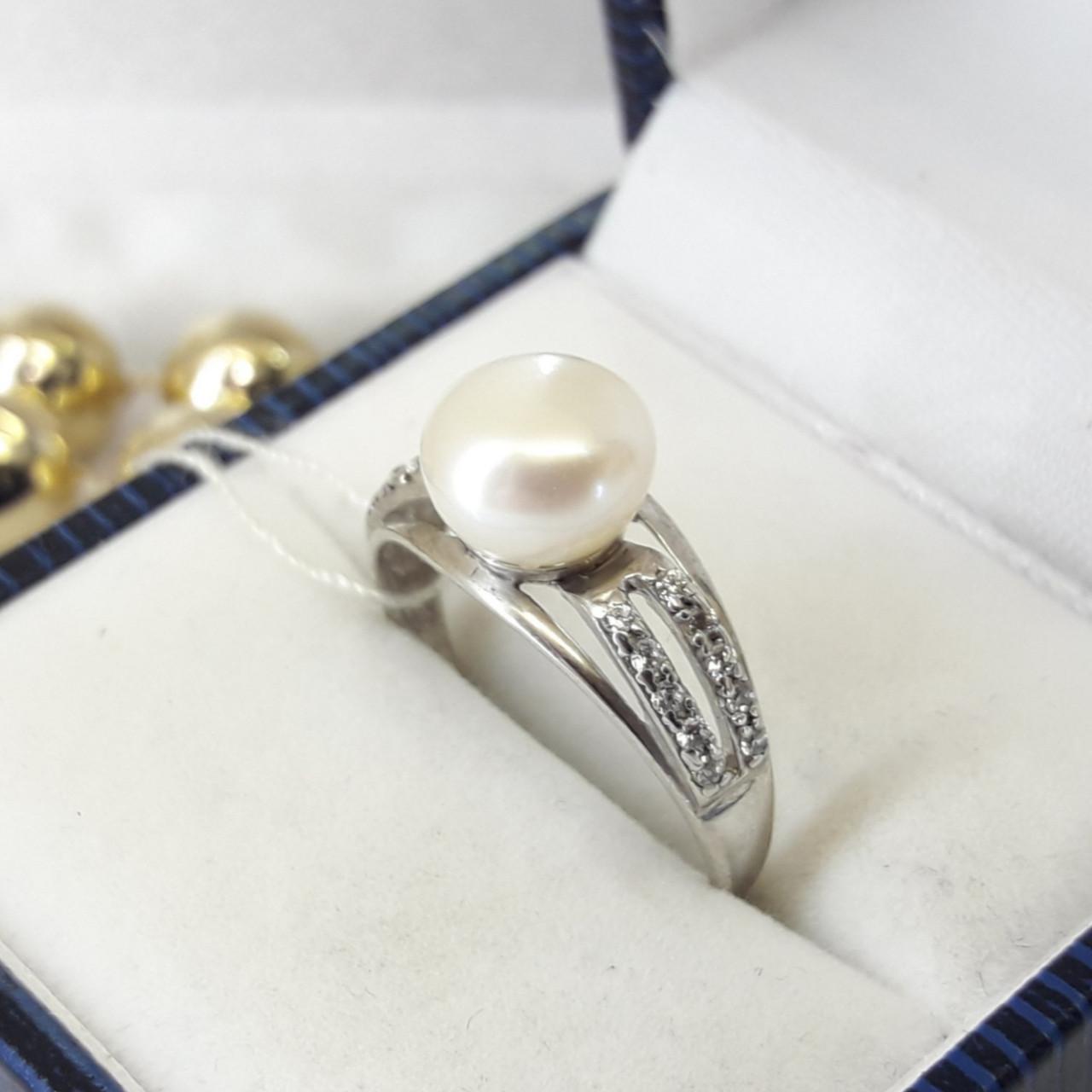 Класичне срібне кільце з перлами