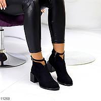 Модельные черные женские ботинки на устойчивом фигурном каблуке