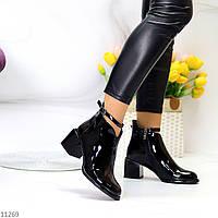 Лаковые глянцевые черные женские ботинки на устойчивом фигурном каблуке