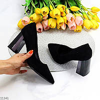 Люксовые замшевые черные женские туфли на высоком устойчивом каблуке 36-23,5 / 38-24,5см