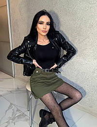 Женские джинсовая юбка трапеция с поясом (в расцветках)
