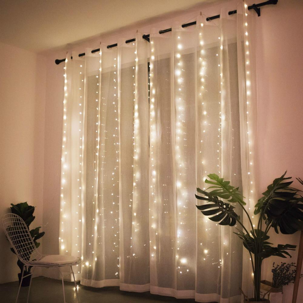 Гірлянда штора завісу, 3*2 м, 250 LED, золото, 8 режимів, статичний світ