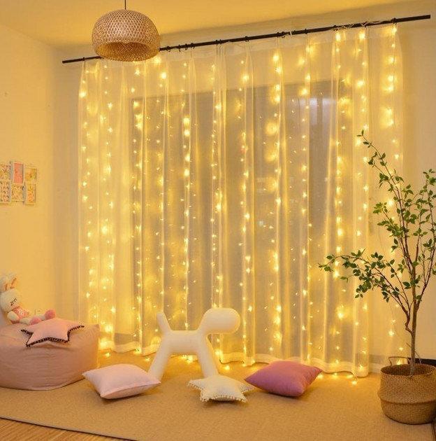 Світлодіодна штора-водоспад,прозорий шнур, 3*2 м, 280 LED, золото, з перехідником