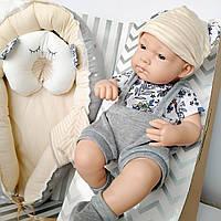 Кукла силиконовая, пупс с кроваткой 41 см