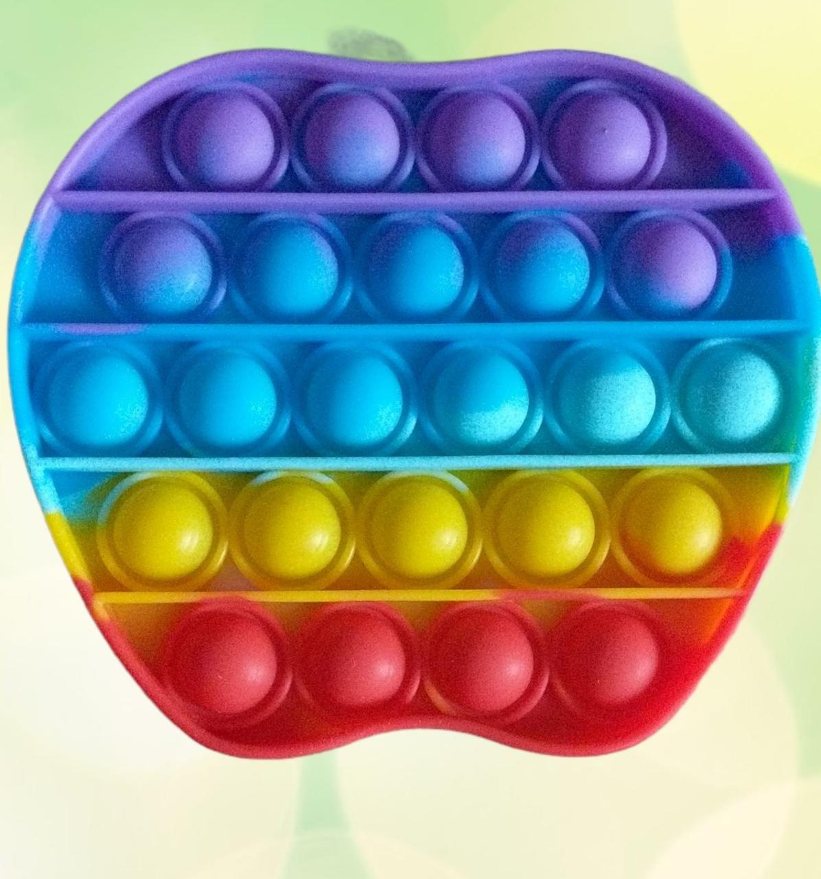 Сенсорна силіконова іграшка пупырка антистрес поп іт фиджет яблучко райдужне