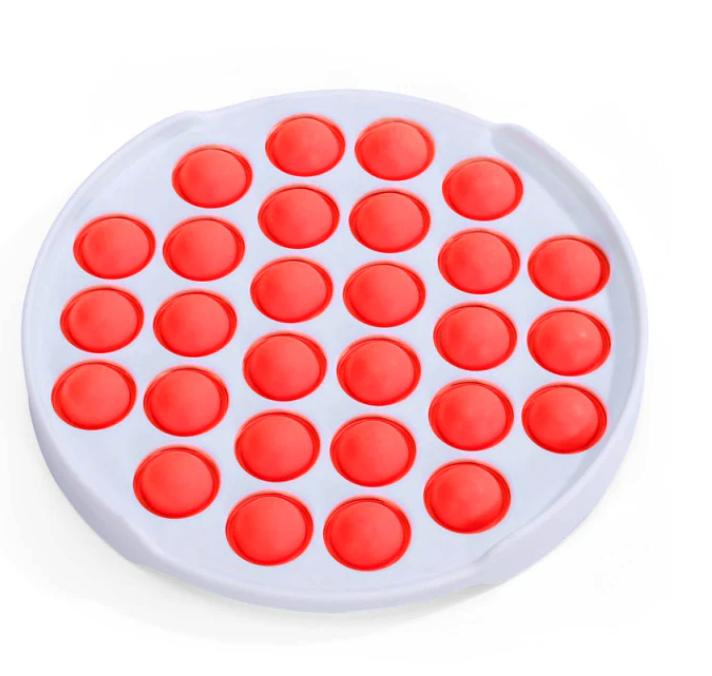 Игрушка-антистресс поп ит фиджет силиконовый круг с ободком красный