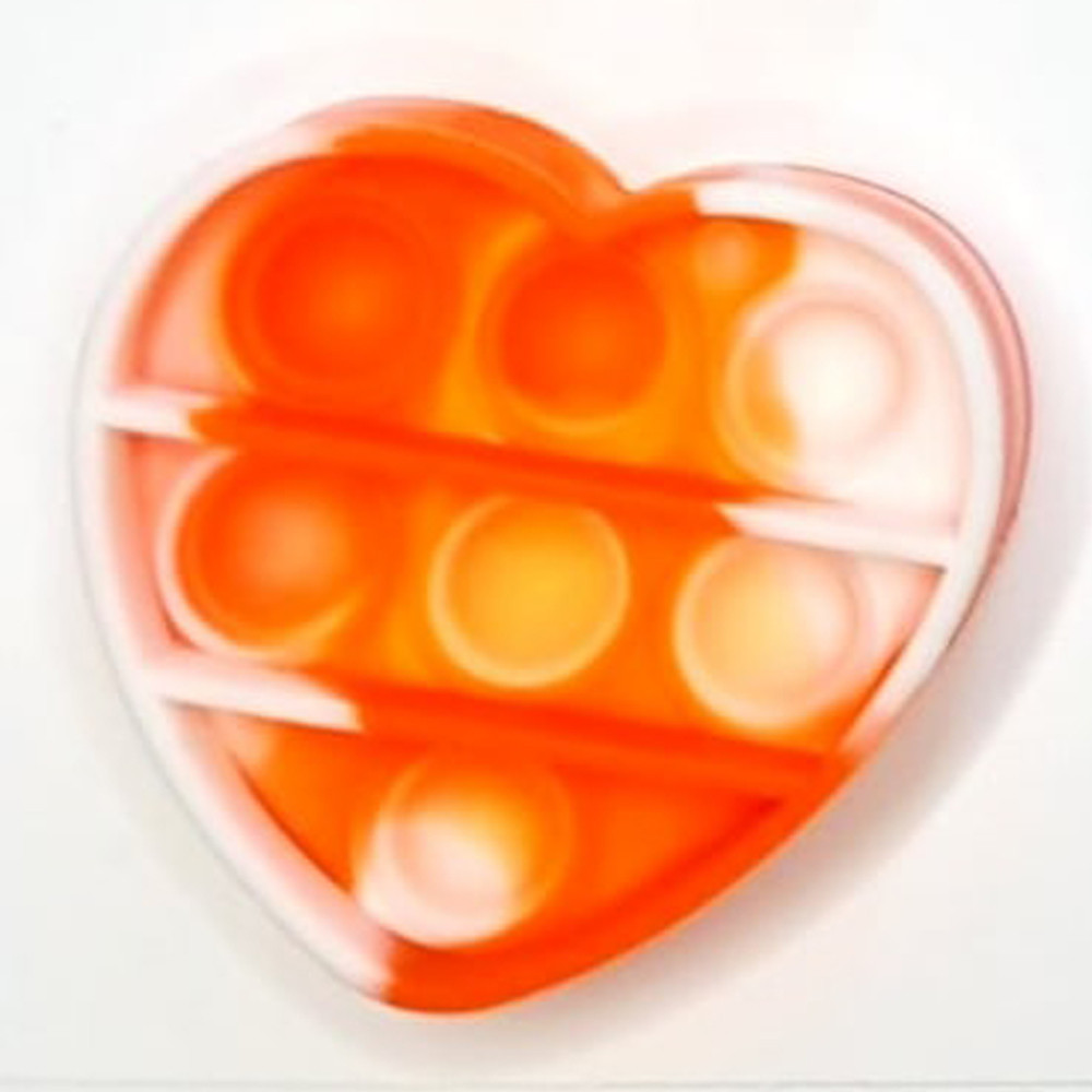 Сенсорная игрушка Simple Dimple поп ит антистресс симпл димпл брелок сердце оранжевый