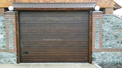 Гаражные секционные ворота Ryterna R40, коричневый орех, RIB