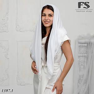 Стильный белый платок в храм, на венчание, на крестины   Елизавета
