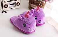 Домашние тапочки игрушки фиолетовые Единороги,36-39, фото 1
