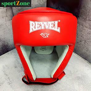 Шлем боксерский защитный Reyvel кожа L (56-60 см) красный