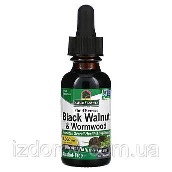 Nature's Answer, Черный грецкий орех и полынь, без спирта, Black Walnut Wormwood, 2000 мг, 30 мл. США