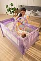 Детский манеж манеж-кровать фиолетовый Carrello Molto с двойным дном пеленальным столиком сумкой колесами, фото 9