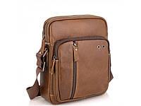 Мужская сумка через плечо из натуральной кожи светло коричневая Tiding Bag